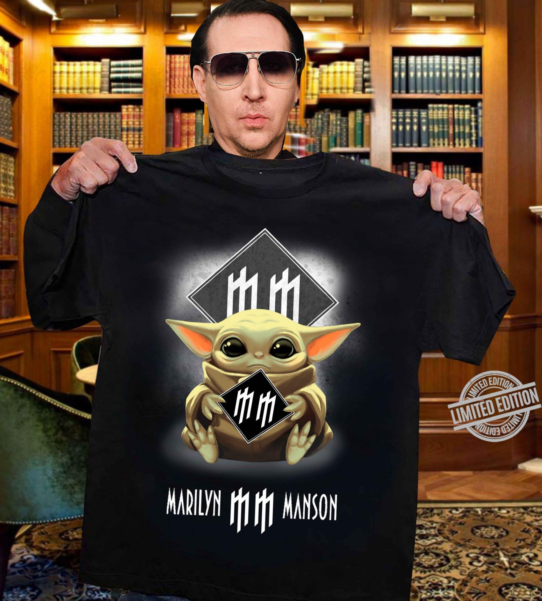Baby Yoda Hug Marilyn Manson Shirt