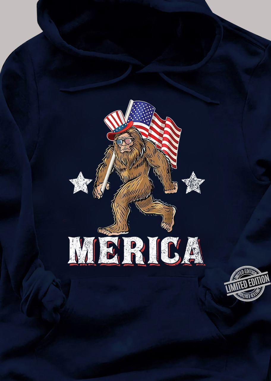 Bigfoot With Flag Merica Shirt